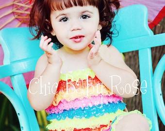 50% OFF The Original Multi Color Big Girl Petti Romper in 7 Fun Color Combos by Chic Baby Rose