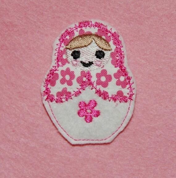 Tiny Babushka Doll Wool Felt Clip by Chic Baby Rose