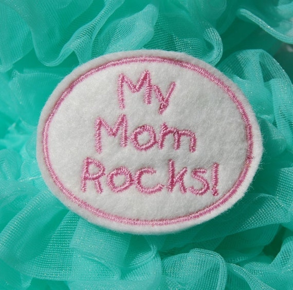 My Mom Rocks Wool Felt Clip by Chic Baby Rose