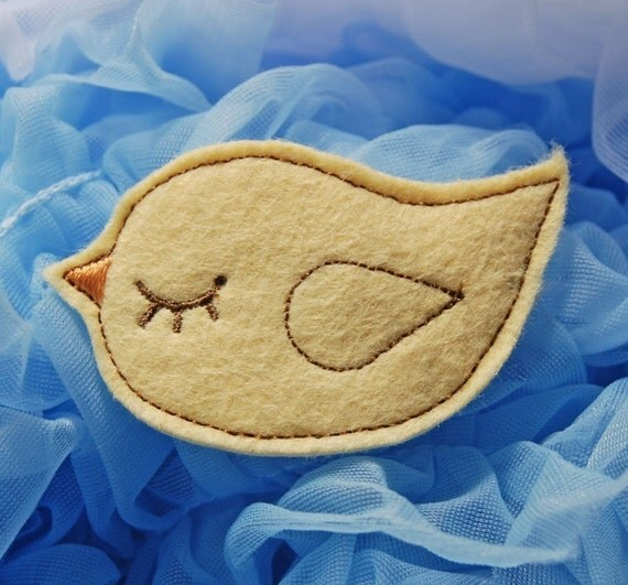 Yellow Wool Felt Birdy Clip by Chic Baby Rose