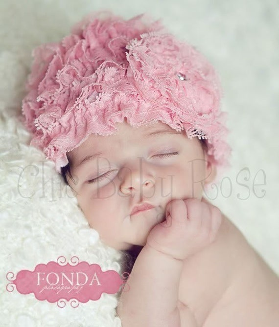 Lace Ruffle Newborn Beanie by Chic Baby Rose in 21 Colors Great Photography Prop