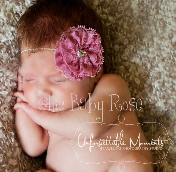 Lace Rosette Clip or Band in 22 Colors by Chic Baby Rose in 2 Sizes