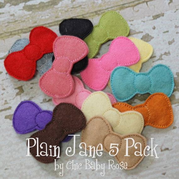 Plain Jane Five Pack of Wool Felt Bow Clips by Chic Baby Rose