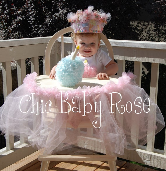 Fluffy Birthday High Chair Tutu Skirt for her Party by Chic Baby Rose
