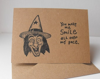 Halloween Witch Cards Friendship Set of 6 Hand crafted Blank inside Vintage Image