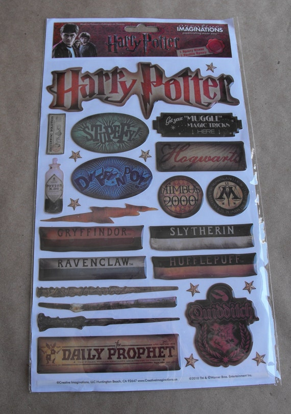 Harry Potter stickers Scrapbooking a  Universal Studios Vacation Hogwarts School for Witchcraft and Wizardry