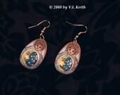 Fancy Matryoshka Nesting Doll Earrings. Moon and Stars.