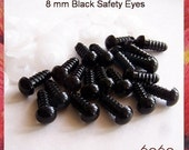 8 mm BLACK Amigurumi Eyes Plastic Eyes Animal Safety Eyes - 10 PAIRS (8b10)