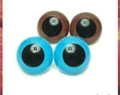 30 mm BIg BROWN and BLUE Plastic eyes Animal eyes Safety eyes - 2 Pairs (30BB)