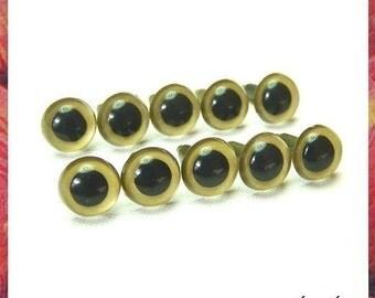 10.5mm GOLD animals eyes amigurumi eyes plastic eyes safety eyes - 5 PAIRS