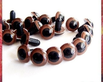 12mm Animal / Amigurumi / Plastic Safety Eyes BROWN - 5 PAIRS