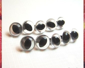 12 mm CLEAR CAT Amigurumi eyes Plastic eyes Safety eyes - 5 PAIRS (12cc)
