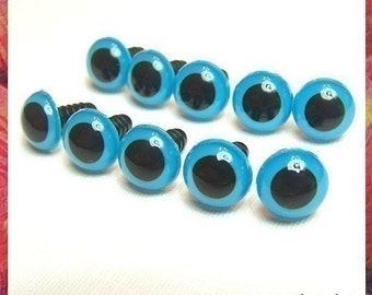 12 mm Stuffed toys eyes Plastic eyes safety eyes - BLUE - 5 pairs
