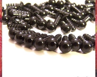 6mm black plastic safety craft eyes - 10 pairs