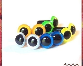 9mm Toys Animals Amigurumi Plastic Safety Eyes 5 PAIRS - NEON COLORS