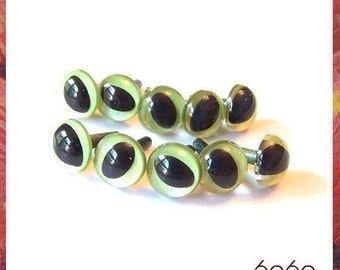 9 mm Safety eyes PEARL GREEN Cat / Fish Amigurumi Animal eyes Plastic eyes - 5 PAIRS (9PGNcat)