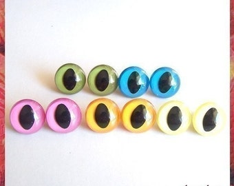 18 mm Cat eyes Plastic eyes safety eyes - 5 pairs mixed colors (18MC)