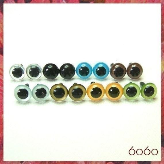 10.5mm Stuffed Animals eyes Amigurumi eyes Plastic eyes Aafety eyes - 8 PAIRS - Mixed Colors (10M8)