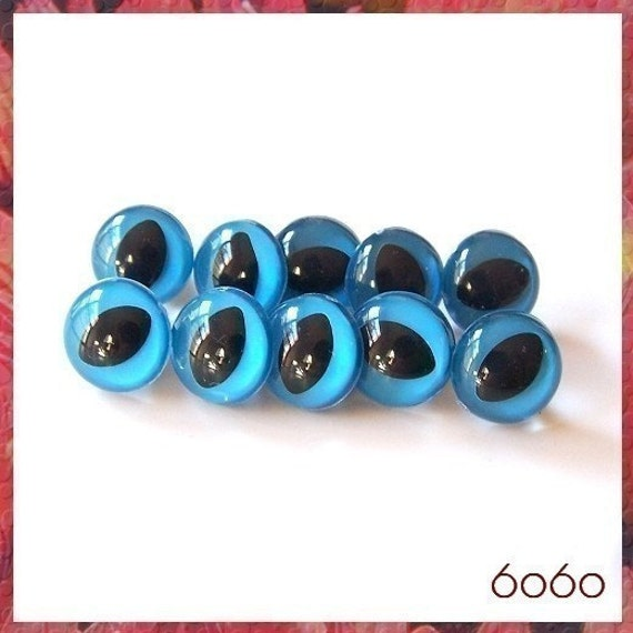 12 mm BLUE CAT animal / amigurumi plastic safety eyes - 5 PAIRS