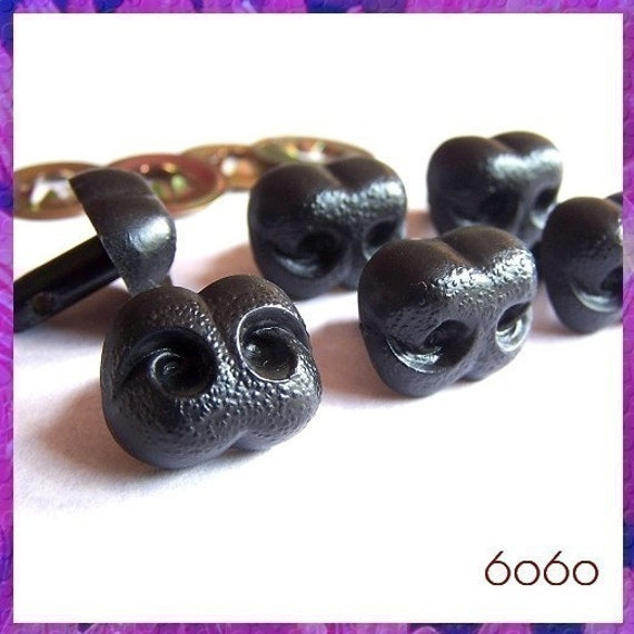 18 mm Black Nose Plastic Animal Amigurumi Safety Noses - 6 pieces (BN18)