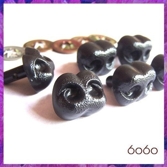 20 mm Black Plastic Animal Safety Noses - 6 pieces (BN20)