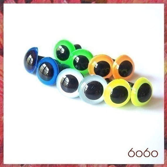 12 mm Neon Colors Animals Safety Eyes - 5 PAIRS Sampler