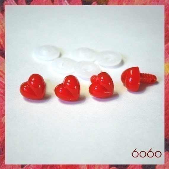 13 mm Red Safety Noses Plastic Noses for Stuffed animals Cat toys amigurumi - 4 pcs (RHN13)