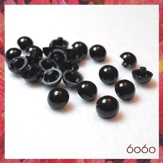 10 mm BLACK DOMED SEW ON eyes for stuffed animals toys dolls 6 PAIRS