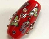 Handmade Lampwork Glass Bead Silver Glass Red Floral Pattern Metallic Scrollwork Lampwork Focal Bead - Adoni