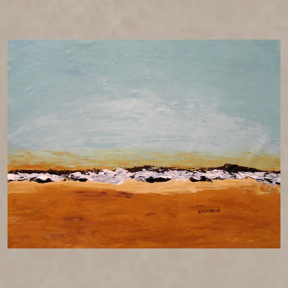 Large Original Art Painting Abstract Seascape Contemporary Expressionist OCEAN HORIZON 4 Waves 24x30 Free US Shipping