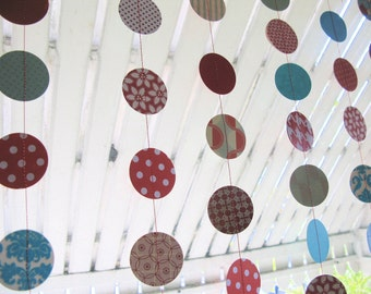 red aqua and white sewn paper circle decorations 9 feet