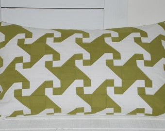 White and green hand quilted 16x26 pillow cover by Mary Gamelin hand quilted kona cotton pillow cover farmhouse / green pillow /hand quilted