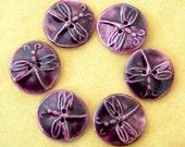 6 Handmade Ceramic Buttons - Deep Purple Dragonfly Buttons - Porcelain Buttons