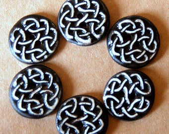 6 Handmade Ceramic Buttons - Celtic Knot Buttons - Stoneware Buttons in Black and White - Renaissance Fair Supplies - Handmade Supplies