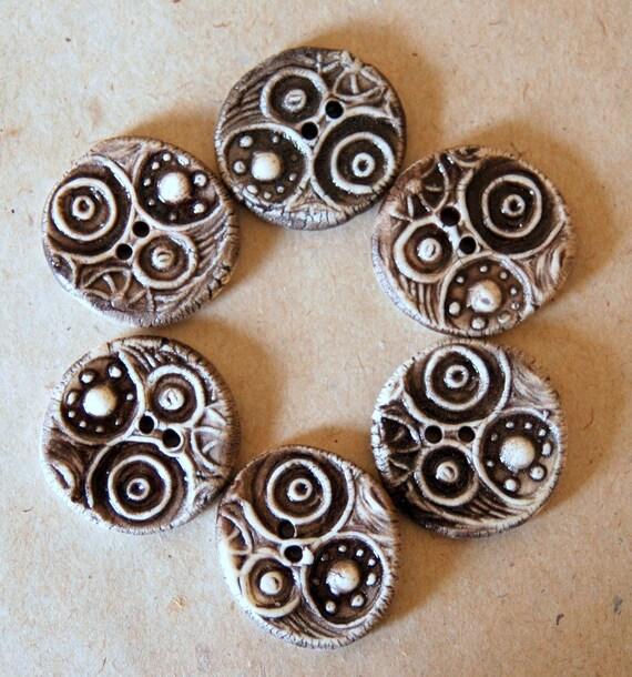 6 Handmade Porcelain Buttons- Circles