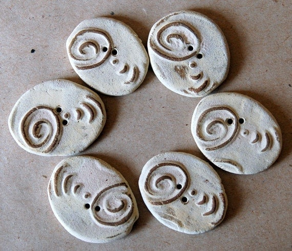 6 Handmade Stoneware Buttons - Ovals with a Spiral in Neutral - Christmas in July