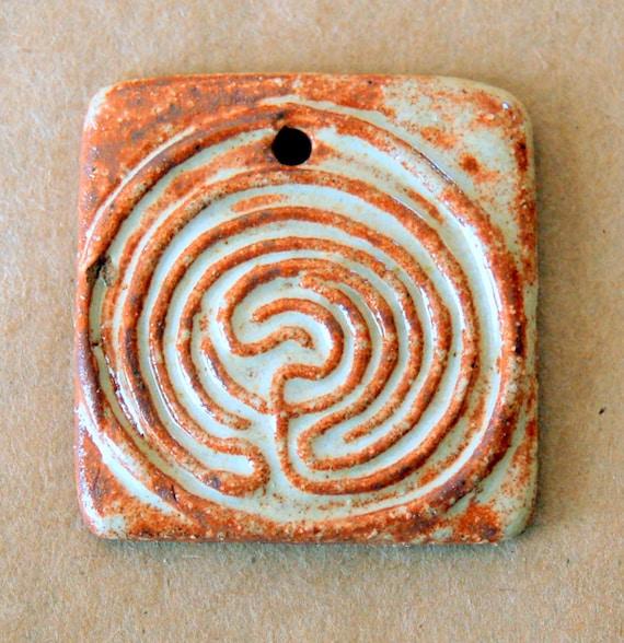 Ceramic Mini Tile Stoneware Bead  - Labyrinth Bead in Rustic Rust