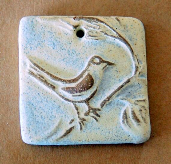 Ceramic Mini Tile Pendant Bead -  Bird Bead in Neutral Stoneware