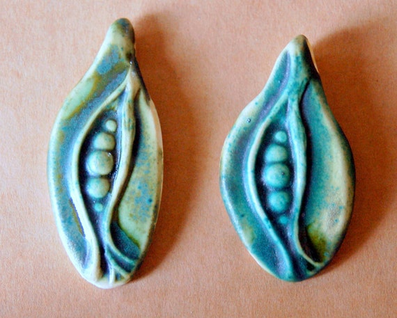2 Handmade Stoneware Beads - Rustic Pea Pod pinch top pendant beads