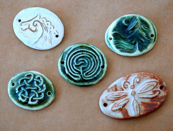 5 Ceramic Link Beads - 2 Holed Bracelet Beads - Handmade Dragonfly, Tree, Horse and Celtic Knot Beads