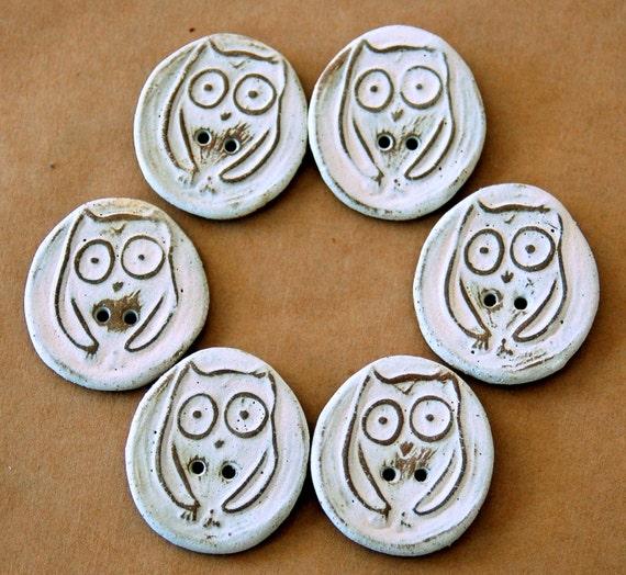 6 Handmade Stoneware Buttons - Owl Buttons
