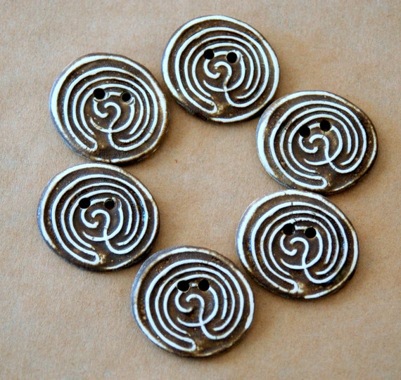 6 Stoneware Handmade Buttons - Small Labyrinth Buttons in Brown