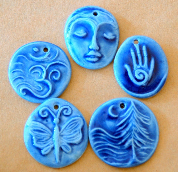5 Handmade Porcelain Blue Beads