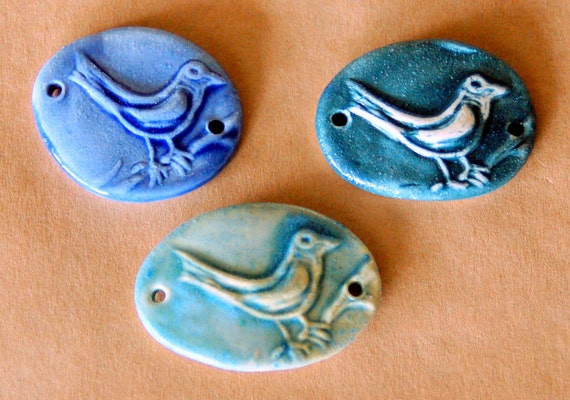 3 Handmade Ceramic Beads - Bird Bracelet Beads