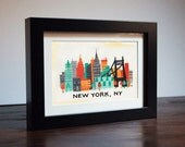 New York, NY Skyline framed color print