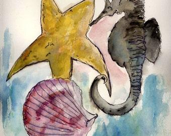 Sea Shell Note Cards, Beach