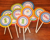 Cupcake Toppers. Cupcake Picks. Happy Birthday. Primary Colors. First Birthday. Polka Dot. Balloon. Set of 12