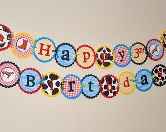 Happy Birthday Banner. Cowboy. Cowprint. Rope. Horse. Boot. Cowboy Theme.