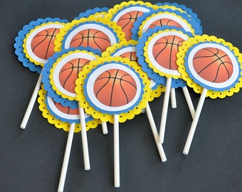 Basketball Cupcake Toppers. Cupcake Toppers. Cupcake Picks. Bball. All Star. Set of 12. Blue. Yellow