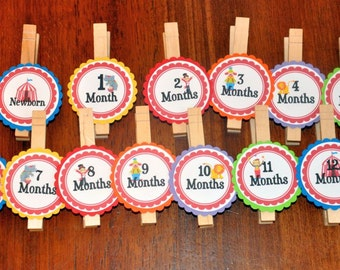 Circus Photo Clips. Photo Banner. First Birthday. Carnival. Clown. Elephant. Big Top. Set of 13